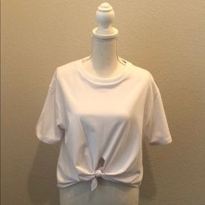 White Tee with Knot Front Detail